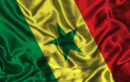colorific: Waving colorful Senegal flag on a silk background