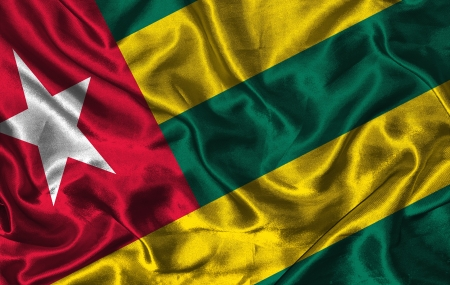 pennon: Waving colorful Togo flag on a silk background