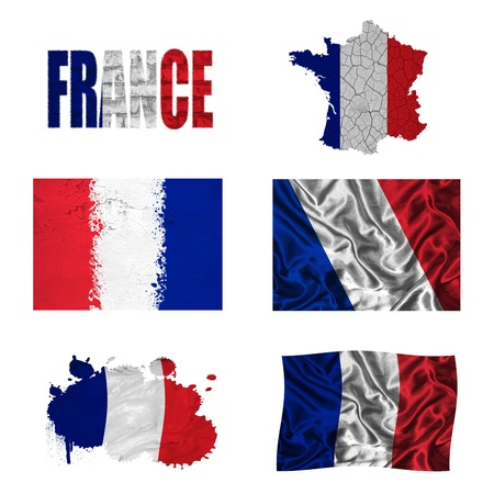 France flag and map in different styles in different textures