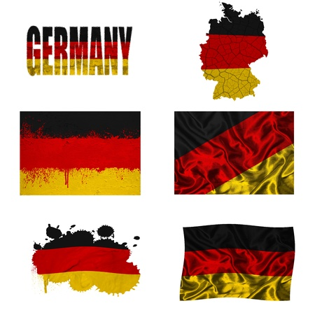 Germany flag and map in different styles in different textures photo