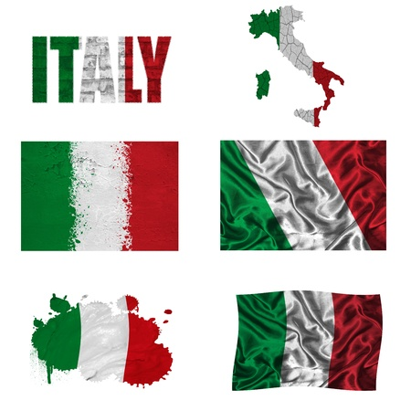 Italy flag and map in different styles in different textures photo