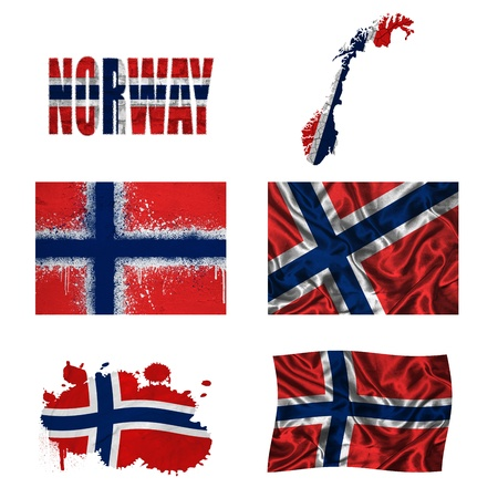 norwegian flag: Norway flag and map in different styles in different textures