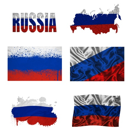 Russia flag and map in different styles in different textures