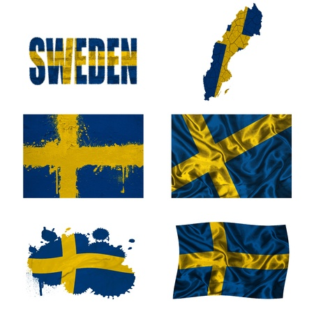 Sweden flag and map in different styles in different textures photo