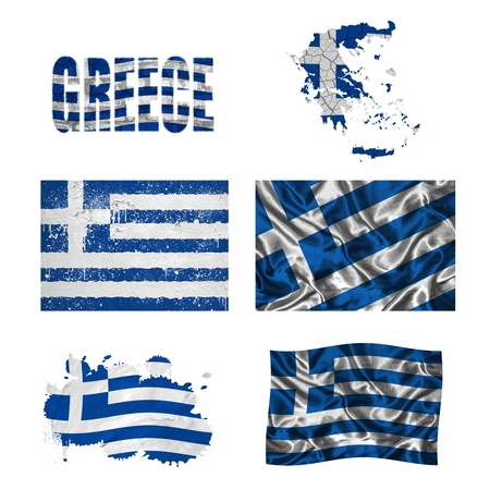 greek flag: Greece flag and map in different styles in different textures