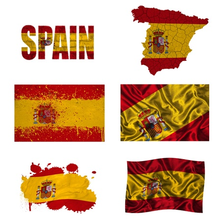 Spain flag and map in different styles in different textures photo