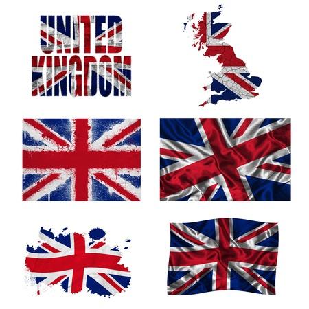 연합 왕국: 다른 질감의 서로 다른 스타일의 영국 국기와지도