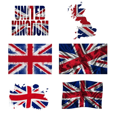 United Kingdom flag and map in different styles in different textures photo