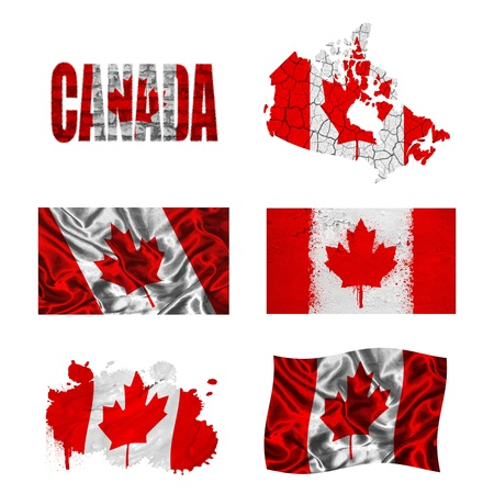 Canada flag and map in different styles in different textures photo