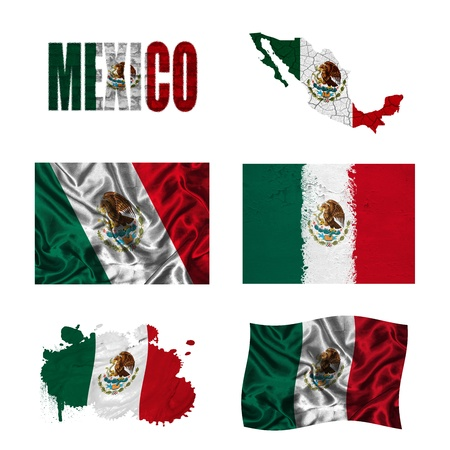 Mexico flag and map in different styles in different textures photo