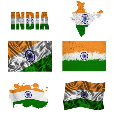 India flag and map in different styles in different textures photo