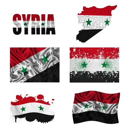 Syria flag and map in different styles in different textures photo