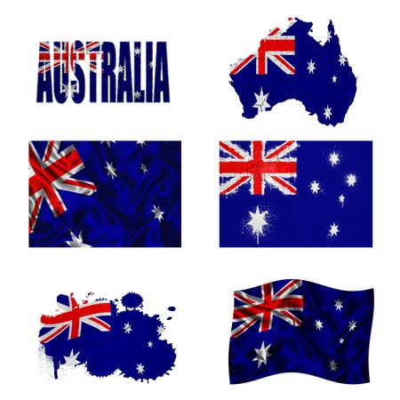 flag australia: Australia flag and map in different styles in different textures Stock Photo