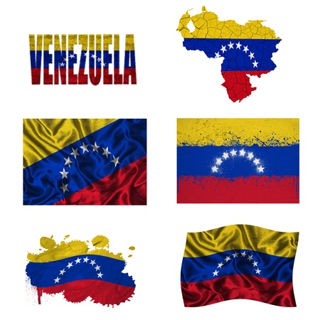 Venezuela flag and map in different styles in different textures