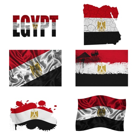 Egypt flag and map in different styles in different textures photo