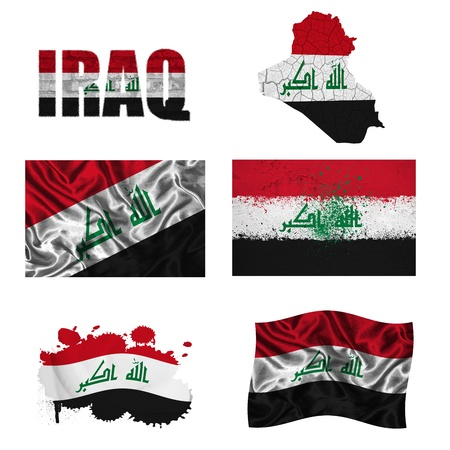 Iraq flag and map in different styles in different textures photo