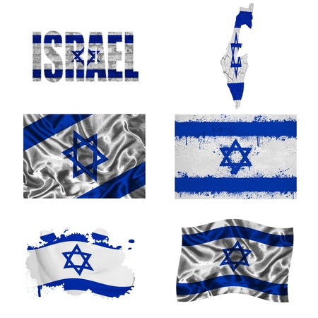 Israel flag and map in different styles in different textures photo