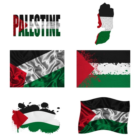 Palestine flag and map in different styles in different textures photo