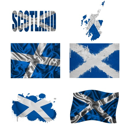 Scotland flag and map in different styles in different textures photo