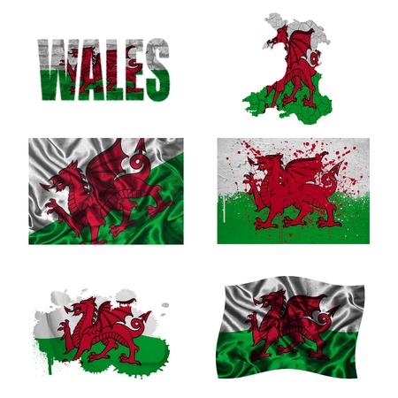 Wales flag and map in different styles in different textures photo
