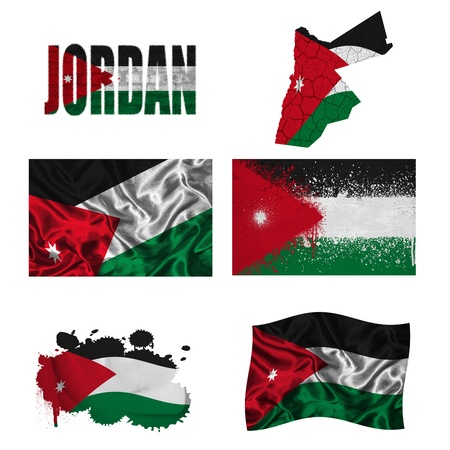 Jordan flag and map in different styles in different textures photo