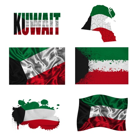 Kuwait flag and map in different styles in different textures photo