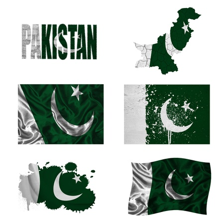 pakistan flag: Pakistan flag and map in different styles in different textures