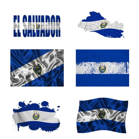 Salvador flag and map in different styles in different textures photo
