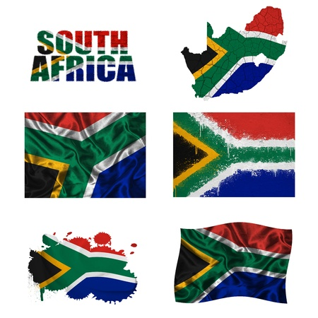 south african flag: South Africa flag and map in different styles in different textures Stock Photo