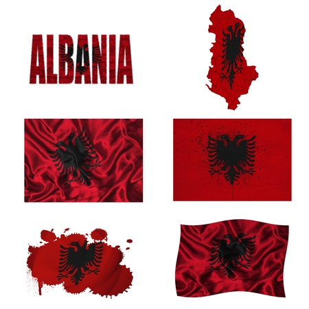 Albania flag e mappa in stili diversi in diverse texture photo