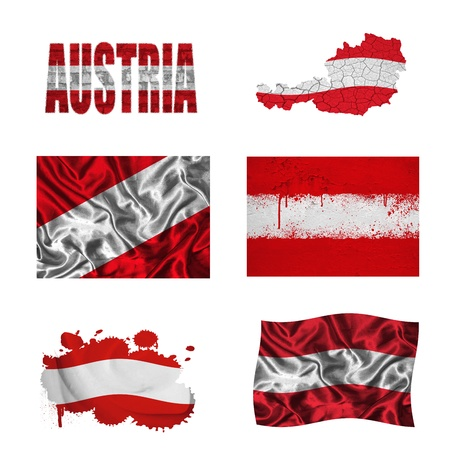 Austria flag and map in different styles in different textures photo