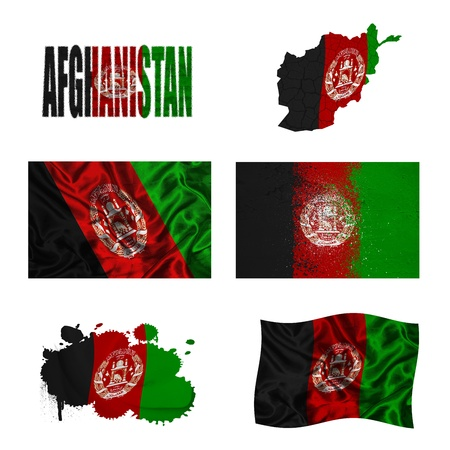 afghan flag: Afghanistan flag and map in different styles in different textures