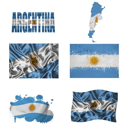Argentina flag and map in different styles in different textures photo