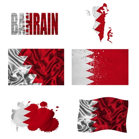 Bahrain flag and map in different styles in different textures photo
