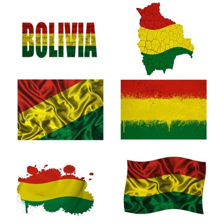 bandera de bolivia: Bolivia bandera y el mapa en diferentes estilos en diferentes texturas