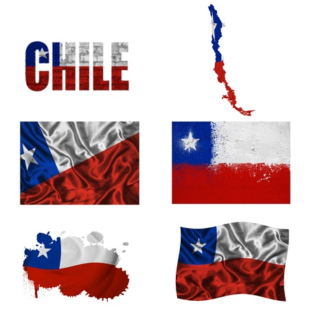 Chile flag and map in different styles in different textures photo