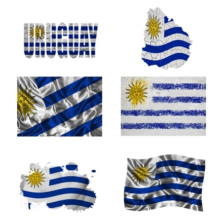 Uruguay flag and map in different styles in different textures photo