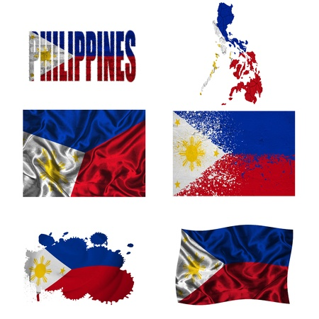 Philippines flag and map in different styles in different textures photo