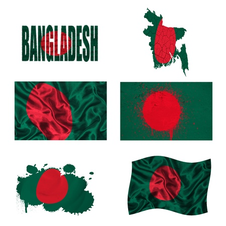 Bangladesh flag and map in different styles in different textures photo
