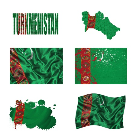 turkmenistan: Turkmenistan flag and map in different styles in different textures