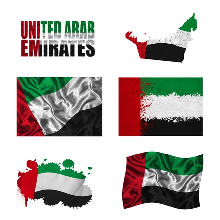 United Arab Emirates flag and map in different styles in different textures photo