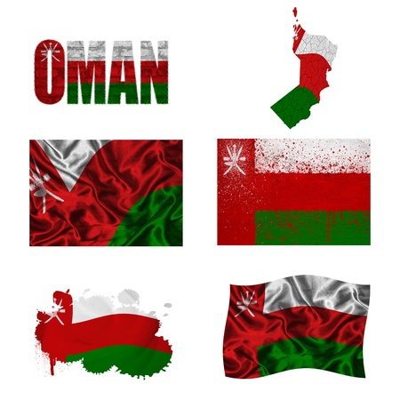 Oman flag and map in different styles in different textures photo