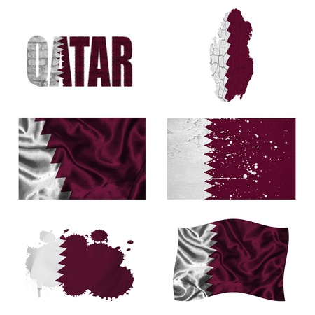 Qatar flag and map in different styles in different textures photo