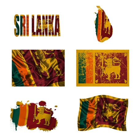 Sri Lanka flag and map in different styles in different textures photo