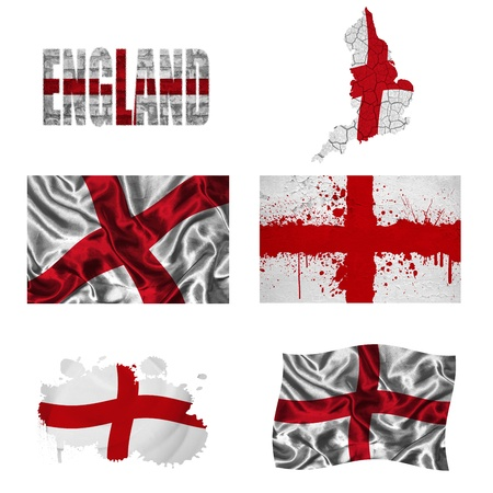 britannia: England flag and map in different styles in different textures