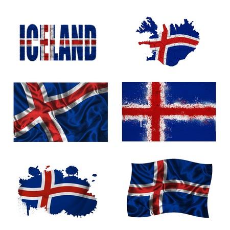 flag of iceland: Islandia bandera y el mapa en diferentes estilos en diferentes texturas