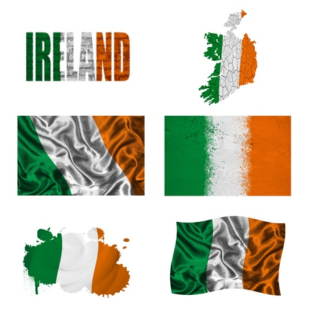 Ireland flag and map in different styles in different textures Stock Photo - 16944446
