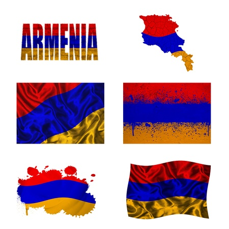 map of armenia: Armenia flag and map in different styles in different textures