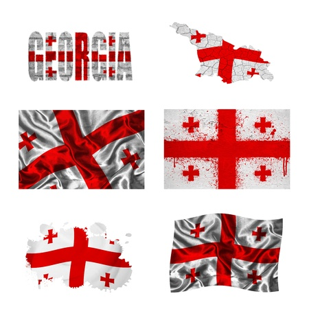 georgia flag: Georgia flag and map in different styles in different textures