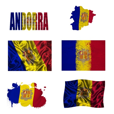 Andorra flag and map in different styles in different textures photo